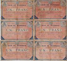 1914 - Nord  Lot 6 Bons De Monnaie  Villes Roubaix Et Tourcoing  Billets De Nécessité  Un Franc Usagé Scan Recto-verso - Bonds & Basic Needs