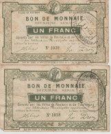 Ww1 - Nord  Lot 2 Bons De Monnaie  Villes Roubaix Et Tourcoing  Billets De Nécessité  Un Franc Usagé Scan Recto-verso - Bons & Nécessité