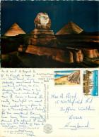 Sphinx And Pyramids, Giza, Egypt Postcard Posted 1977 Stamp - Piramidi
