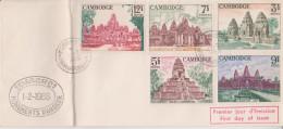K 1 Cambodge Kambodscha 1966 FDC De Phnom Penh Monuments D´Angkor - Cambogia