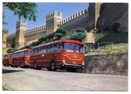 GRADARA PESARO URBINO AUTOBUS PUBBLICITA´ AUTOLINEE LEONARDI SPEDITA A MONTEGRIDOLFO RIMINI F/G VIAGGIATA 1966 - Italia