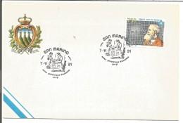 SAN MARIN OBLITERATION SALON PHILA  D'AUTOMNE DE PARIS 1991  RADIO - Lettres & Documents