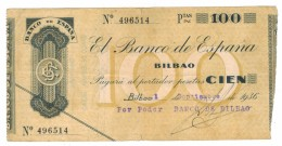 Spain 100 Pts. Bilbao , Rare . VF. Free Ship. To USA. - [ 2] 1931-1936 : Republic