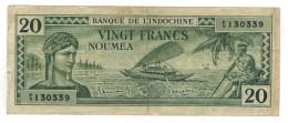 New Caledonia, Noumea, 20 Fr. (1944) . Free Ship. To USA. - Nouméa (New Caledonia 1873-1985)