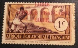 "A.E.F 1940 1c VARIÉTÉ: SURCHARGE A CHEVAL ""LIBRE / AFRIQUE FRANCAISE / LIBRE"" Neuf Signé Pascal Scheller. Yvert 92 RR ! - A.E.F. (1936-1958)"