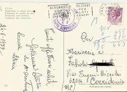 """TIMBRO POSTALE SU CARTOLINA """"AEREONAUTICA MILITARE CONCORSO PER UFFICIALI PILOTI UFFICIALI 1972"""" - Timbri Generalità"""