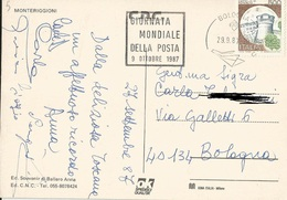 """TIMBRO POSTALE SU CARTOLINA """"GIORNATA MONDIALE DELLA POSTA 9 OTTOBRE 1987"""" - Timbri Generalità"""