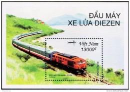 Vietnam Viet Nam MNH Perf Withdrawn Souvenir Sheet 2001 : Diesel Locomotives / Train (Ms866B) - Vietnam