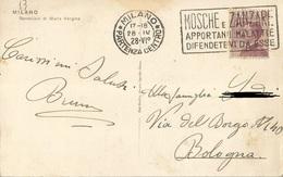 """TIMBRO POSTALE SU CARTOLINA """"MOSCHE E ZANZARE APPORTANO MALATTIE DIFENDETEVI DA ESSE 1928"""" - Timbri Generalità"""