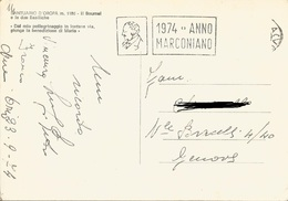 """TIMBRO POSTALE SU CARTOLINA """"1974 ANNO MARCONIANO"""" - Timbri Generalità"""