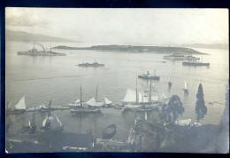 Cpa Carte Photo De Grèce Corfou - L' Ile De Vido  -- Cuirassé Voltaire Au Fond Avec Ses 5 Cheminées    JIP8 - Grèce