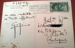 """TIMBRO POSTALE SU CARTOLINA """"VISITATE LA MOSTRA DELLA FEDERCONSORZI ALLA FIERA DI VERONA 9/15 MARZO 1952"""" - Timbri Generalità"""