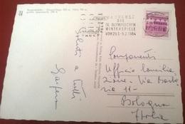 """TIMBRO POSTALE SU CARTOLINA """"BESUCHEN DIE IX OLYMPISCHEN WINTERSPIELE VON 29.1-9.2-1964 AUSTRIA"""" - Timbri Generalità"""