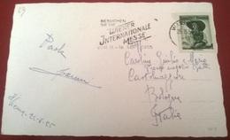 """TIMBRO POSTALE SU CARTOLINA """"BESUCHEN SIE DIE WENER INTERNATIONALE MESSE VOM 11-18  SEPT 1955 AUSTRIA"""" - Timbri Generalità"""