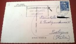 """TIMBRO POSTALE SU CARTOLINA """"LA PROTECTION CIVILE UNE NECESSITE UN DEVOIR 1962 FRANCIA"""" - Timbri Generalità"""