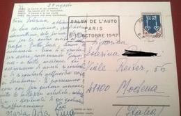 "TIMBRO POSTALE SU CARTOLINA ""SALON DE L'AUTO PARIS S-15 OCTOBRE 1967 FRANCIA"" - Timbri Generalità"