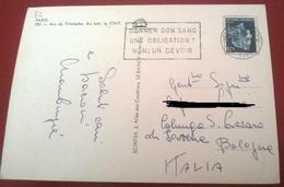 """TIMBRO POSTALE SU CARTOLINA """"DONNER SON SANG UNE OBLIGATION NON UN DEVOIR 1962"""" - Timbri Generalità"""