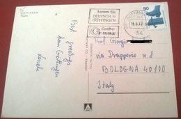 "TIMBRO POSTALE SU CARTOLINA ""LERNEN SIE DEUTSCH IN GOTTINGEN 1977 GERMANIA"" - Timbri Generalità"