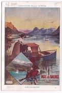 Chromo Fiche Illustrée Collection Hugo D'Alési Aix Les Bains - Lac Du Bourget - Géographie