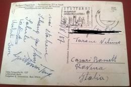 """TIMBRO POSTALE SU CARTOLINA """"STUTTGART DIE GROSSTADT ZEISCHEN WALD UND REBEN 1957 GERMANIA"""" - Timbri Generalità"""