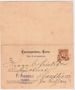 1891, 2 Kr. Doppel-GA , #6161 - Interi Postali