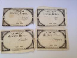 ASSIGNAT DE CINQ LIVRES, LOT DE 4 , AVEC 4 SIGNATURES DIFFERENTES - Billets