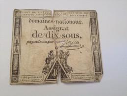 ASSIGNAT DE DIX SOUS,domaines Nationaux,payable Au Porteur - Billets