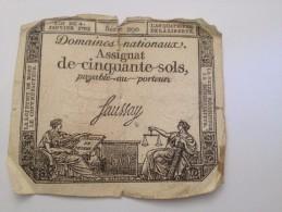 ASSIGNAT DE 50 SOLS  ,domaines Nationaux,payable Au Porteur - Banknotes