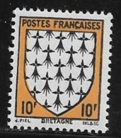 N° 573   FRANCE  -  FRANCE  -  NEUF    -  ARMOIRIE BRETAGNE  -  1943 - France