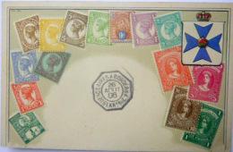 ARGENTINE CARTE ILLUSTREE DE  TIMBRES IMPRIMES ET BLASON DE L'ARGENTINE AVEC CACHET  OCTOGONAL BUENOS AIRES BORDEAUX - 1921-1960: Période Moderne