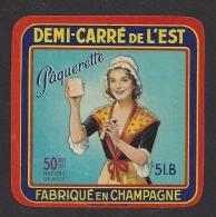 Etiquette De Fromage Demi Carré De L'Est  -  Pâquerette  -   SAFR  à  Courtisols  (51 B) - Käse