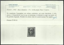 BASE ATLANTICA 1944  SOPRASTAMPATO D'ITALIA ITALY OVERPRINTED CENT. 15c MLH CERTIFICATO - Emissioni Locali/autonome