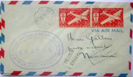 TAHITI NOUVELLE CALEDONIE  PREMIERE LIAISON AERIENNE PAPEETE NOUMEA 1947  CACHET TAMPON TIMBRE RETOUR ENVOYEUR DEUX EX - Marcophilie (Timbres Détachés)