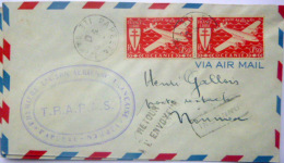 TAHITI NOUVELLE CALEDONIE  PREMIERE LIAISON AERIENNE PAPEETE NOUMEA 1947  CACHET TAMPON TIMBRE RETOUR ENVOYEUR DEUX EX - Marcofilia (Sellos Separados)