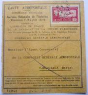 CARTE AEROPOSTALE  JOURNEES NATIONALES DE L'AVIATION  VINCENNES 1930 POSTE AERIENNE MAROC - Marcophilie (Timbres Détachés)