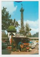 75 Paris Place De La Bastille En 1988 PUB St Raphaël Quinquina Sur Colonne Morris Simca Ariane BUS - Places, Squares