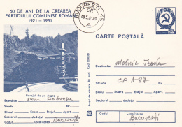 49781- ARGES DAM, WATER POWER PLANT, ENERGY, POSTCARD STATIONERY, 1981, ROMANIA