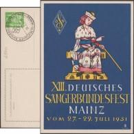 Allemagne 1951. Entier Postal Illustré, Timbré Sur Commande. Union Des Chanteurs Allemands à Mayence - Musica