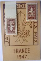 SCOUTISME CARTE JAMBOREE  FRANCE 1947 AVEC DEUX TIMBRES VIERGES - Scouting
