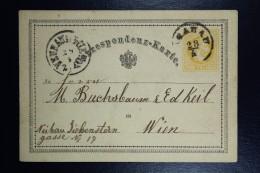 Poland: 1870  Austrian Postcard  Krakow To Vienna Cancel Krakau 28/4 In Circle Vienna On Back 29/4