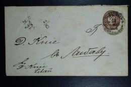 Poland: 1874  Russian Stamped Envelop Warsaw To Libau Sent 22-8-1874 Backstamped 23-8-1874  Mi Nr U16