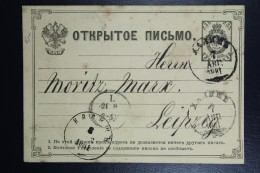Russia  Postcard Mi Nr P5 From Kalish Poland To Leipzig Germany 1881 Receiving Cancel Leipzig - 1857-1916 Imperium