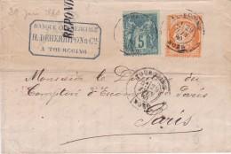 Affranchissement Mixte Cérès N° 38 (touché) Et Sage N° 75 Sur Pli  De Tourcoing (Nord) Du 29 Juin 1880 - Postmark Collection (Covers)