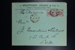 Russia Company Cover Lodz Tomaszow Poland To Leeds UK,  Pair Mi 48 Sc 49    1899 Advertisement On Back - 1857-1916 Imperium