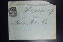 Russia Company Cover Warsaw To Hamburg 1901   Sc 42 10 Kop. Blue - Lettres & Documents