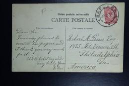 Russia  Postcard 1910 Warsaw Poland To Philadelphia America Instead Of USA - 1857-1916 Empire