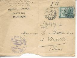 """FM""""hopital C..re N°71 -Menton*le Médecin-chef*/ Centre Spécial De Réforme Des Troupes Noires""""vignette Mutilés - Poststempel (Briefe)"""
