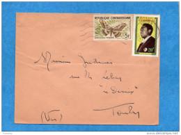 Marcophilie-lettre- RCA-cad  Bouar-1966-2- Stamps° N°8 Papillon-butterfly+22 Président  --pour Françe - Central African Republic