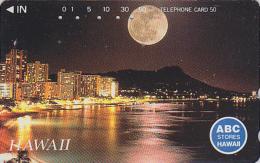 Télécarte Japon - Site HAWAII / Série ABC STORES - NUIT DE PLEINE LUNE Sur HONOLULU - MOON Japan Phonecard USA Rel. 830 - Hawaï