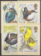 Great Britain 1980 Wild Birds 4v 4 Maxicards (32421) - Maximumkaarten